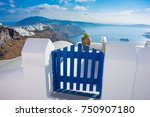 blue gate overlooking sea and... | Shutterstock . vector #750907180