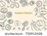 vegetables top view frame.... | Shutterstock .eps vector #750913438
