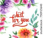 wildflower aster flower frame... | Shutterstock . vector #750915640