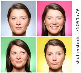 A set of four portraits of a pretty young woman expressing different emotions over colourful backgrounds - stock photo