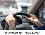 gps concept. driver drive a car ... | Shutterstock . vector #750916984