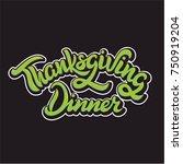 thanksgiving dinner green... | Shutterstock .eps vector #750919204