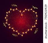 sparkling heart with light... | Shutterstock .eps vector #750923929