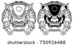 chinese lion traditional style... | Shutterstock .eps vector #750926488
