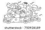 cute monster gangster on the... | Shutterstock .eps vector #750928189