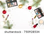 makeup products and christmas... | Shutterstock . vector #750928534