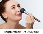 makeup. middle age woman with...   Shutterstock . vector #750930580