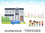 family 3 generations house... | Shutterstock .eps vector #750931003