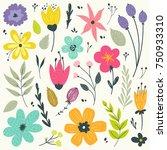 floral elements in gentle... | Shutterstock .eps vector #750933310