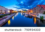 Old Town and granaries by the Brda River at night. Bydgoszcz. Poland