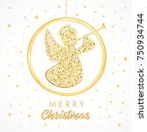 flying angel with trumpet on a... | Shutterstock .eps vector #750934744