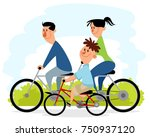 parents with son on the bikes | Shutterstock .eps vector #750937120