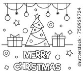 merry christmas. coloring page. ... | Shutterstock .eps vector #750939724