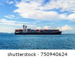 stacked of cargo containers... | Shutterstock . vector #750940624
