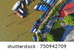 aerial view. boats are docking... | Shutterstock . vector #750942709