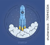 abstract rocket launching as a... | Shutterstock .eps vector #750945334