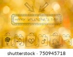 valentines day shopping concept ... | Shutterstock . vector #750945718