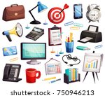 business office accessories... | Shutterstock .eps vector #750946213