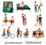 couple in daily life set with... | Shutterstock .eps vector #750946249