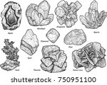 mineral collection illustration ... | Shutterstock .eps vector #750951100