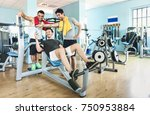 group of sportive friends using ... | Shutterstock . vector #750953884