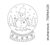 coloring book page of christmas ... | Shutterstock .eps vector #750964120
