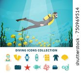 diving icons collection with... | Shutterstock .eps vector #750969514