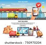 free train truck shipment fast... | Shutterstock .eps vector #750970204