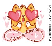 cute cat character in love with ... | Shutterstock .eps vector #750971404
