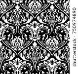 vector damask seamless pattern... | Shutterstock .eps vector #750974890
