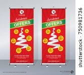 christmas roll up brochure... | Shutterstock .eps vector #750981736