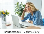 beautiful pensive businesswoman ... | Shutterstock . vector #750983179