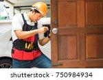 locksmith repair silver handle...   Shutterstock . vector #750984934