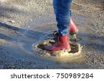 play on a puddle  step on a... | Shutterstock . vector #750989284