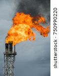 fire on flare stack at oil and...   Shutterstock . vector #750990220