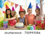 a group of adorable kids having ... | Shutterstock . vector #750993586