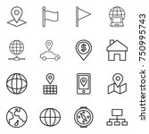 thin line icon set   pointer ... | Shutterstock .eps vector #750995743