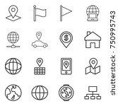 thin line icon set   pointer ... | Shutterstock .eps vector #750995743
