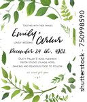 wedding invitation  floral... | Shutterstock .eps vector #750998590