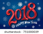 2018 happy new year design... | Shutterstock .eps vector #751000039