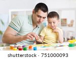 father and child little boy of... | Shutterstock . vector #751000093