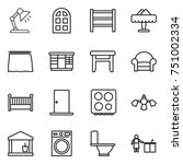 thin line icon set   table lamp ... | Shutterstock .eps vector #751002334