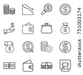 thin line icon set   coin stack ... | Shutterstock .eps vector #751003174