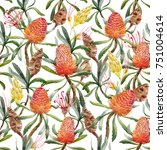 tropical watercolor pattern... | Shutterstock . vector #751004614