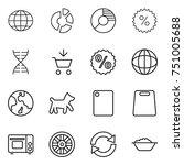 thin line icon set   globe ... | Shutterstock .eps vector #751005688