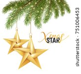 christmas tree gold star toys... | Shutterstock .eps vector #751006453