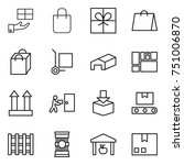 thin line icon set   gift ... | Shutterstock .eps vector #751006870
