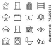 thin line icon set   table lamp ... | Shutterstock .eps vector #751008598