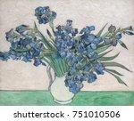 irises  by vincent van gogh ... | Shutterstock . vector #751010506