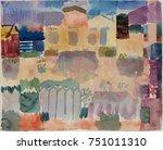 garden in st. germain  european ... | Shutterstock . vector #751011310